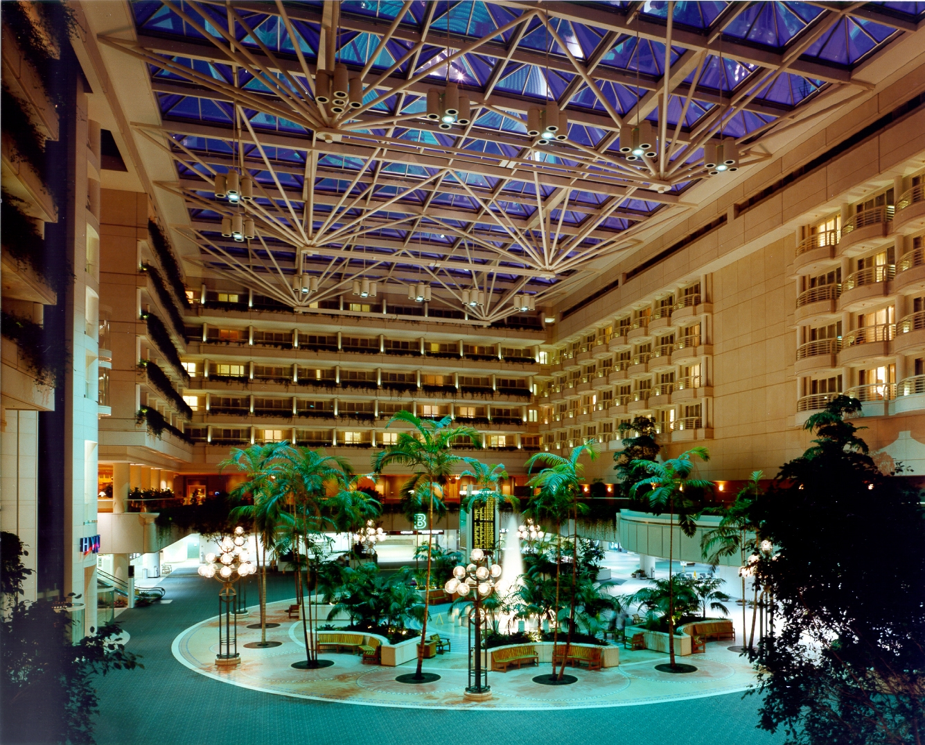 Hotel Atrium at Night