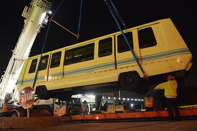 APM Shuttle Being Removed From the Tracks