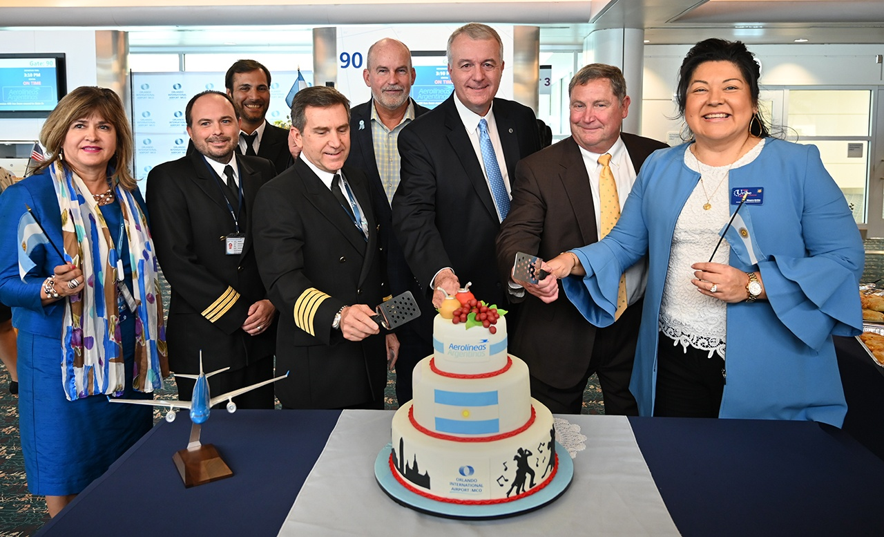 The inaugural departing flight included a gate ceremony attended by Mayor Buddy Dyer's Chief of Staff Frank Billingsley, airport CEO Phil Brown and Orange County Commissioner Mayra Uribe.
